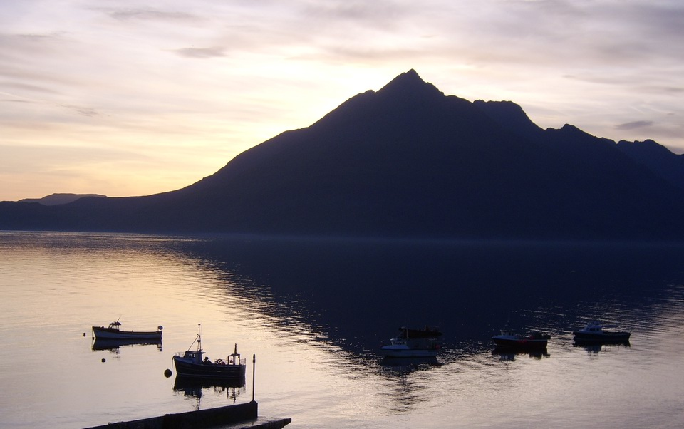 Sunset over the Cuillins and Loch Scavaig from Pier House