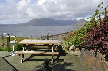 Pier House Self Catering Holiday Cottage Accomodation Elgol - the picnic area with views of the Cuillins