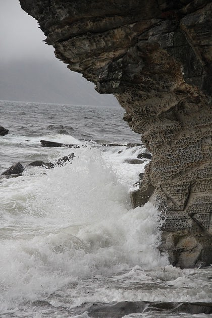 Unusual honeycomb rock formations at Elgol, Skye