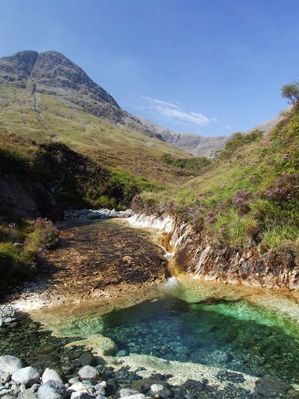 Marble rock pool near Blaven, Skye