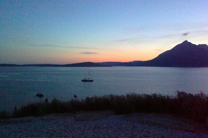 Pier House Self Catering Holiday Cottage Accomodation Elgol - sunset over Loch Scavaig from the garden